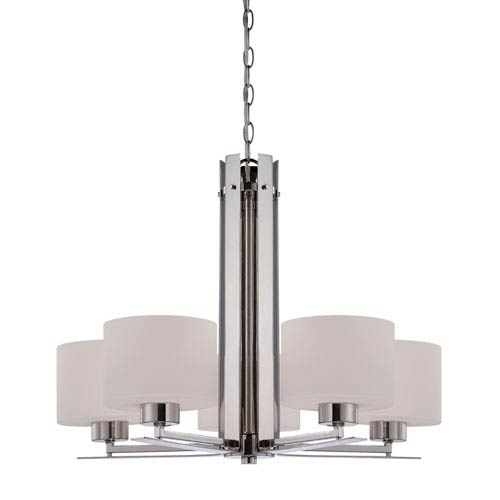 Parallel Polished Nickel Five Light Chandelier with Etched Opal Glass