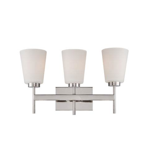 Nuvo Lighting Benson Polished Nickel Three Light Vanity Fixture with Satin White Glass