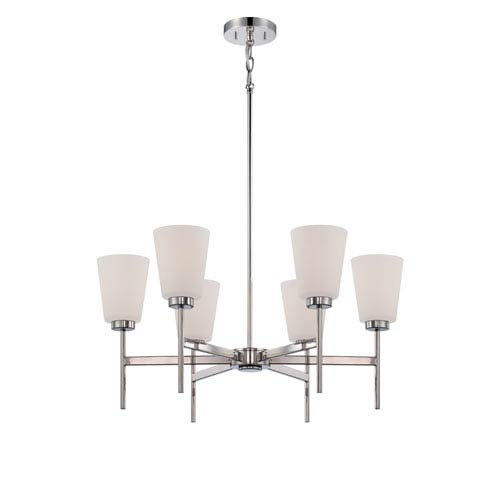 Benson Polished Nickel Six Light Chandelier with Satin White Glass