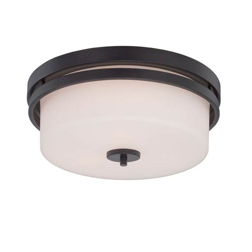 Nuvo Lighting Parallel Aged Bronze Three Light Flush Mount Fixture with Satin White Glass
