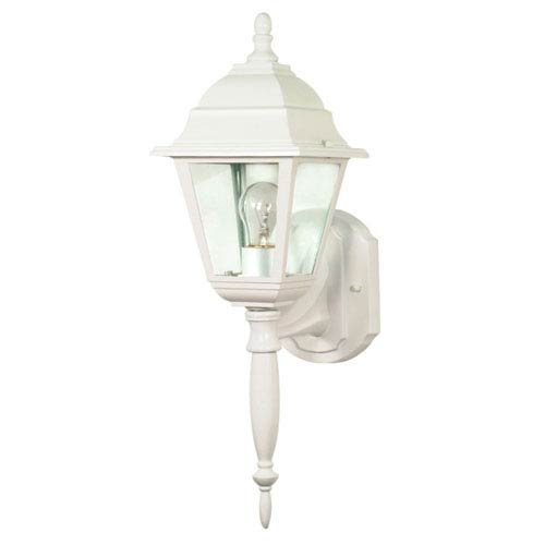 Nuvo Lighting Briton White One-Light Outdoor Wall Mount with Clear Glass