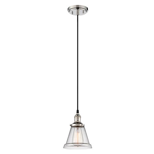 Nuvo Lighting Vintage Polished Nickel One-Light 7-Inch Wide Dome Mini Pendant with Cone Shaped Clear Glass