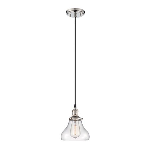 Nuvo Lighting Vintage Polished Nickel One-Light 7-Inch Wide Dome Mini Pendant with Bell Shaped Clear Glass