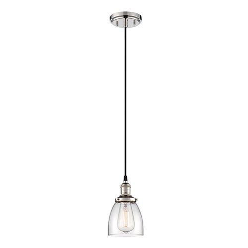 Nuvo Lighting Vintage Polished Nickel One-Light 5-Inch Wide Dome Mini Pendant with Clear Glass