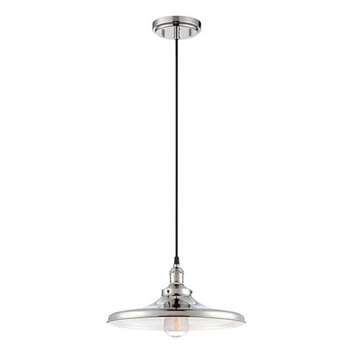 Nuvo Lighting Vintage Polished Nickel One-Light 14-Inch Wide Dome Pendant with Curved Metal Shade