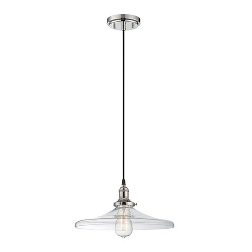 Nuvo Lighting Vintage Polished Nickel One-Light 14-Inch Wide Dome Pendant with Curved Clear Glass