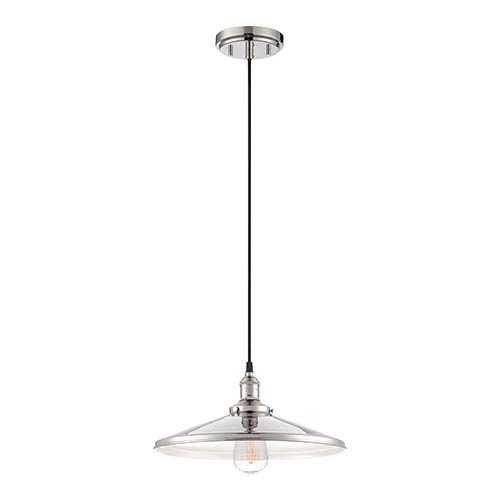 Nuvo Lighting Vintage Polished Nickel One-Light 14-Inch Wide Dome Pendant with Cone Shaped Metal Shade