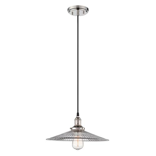 Vintage Polished Nickel One-Light 14-Inch Wide Dome Pendant with Clear Ribbed Glass