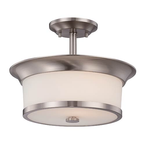 Mobili Brushed Nickel Two-Light Semi-Flush with White Glass