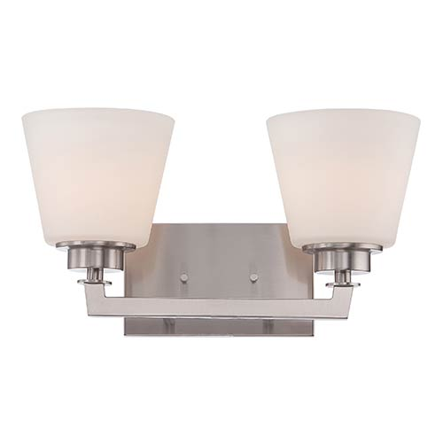 Nuvo Lighting Mobili Brushed Nickel Two-Light Bath Vanity with Satin White Glass
