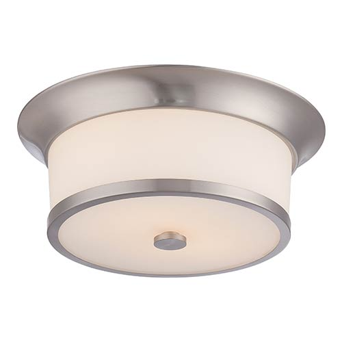 Mobili Brushed Nickel Two-Light Flush Mount with Satin White Glass