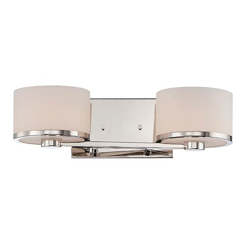 Nuvo Lighting Celine Polished Nickel Two-Light Bath Vanity with Etched Opal Glass