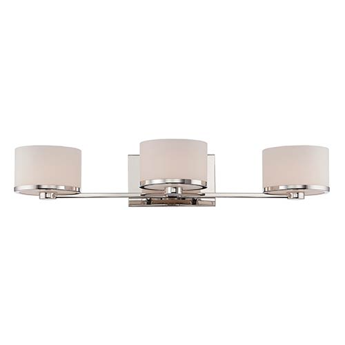 Nuvo Lighting Celine Polished Nickel Three-Light Bath Vanity with Etched Opal Glass