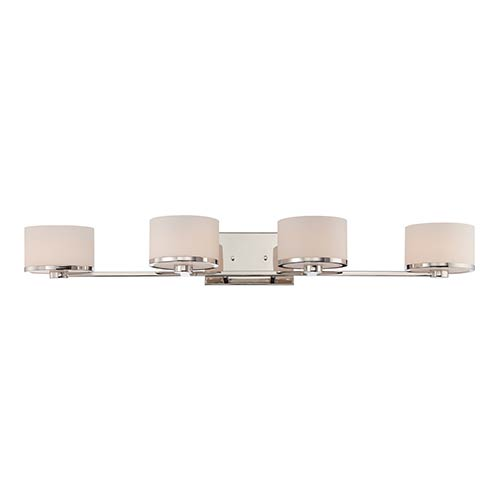 Nuvo Lighting Celine Polished Nickel Four-Light Bath Vanity with Etched Opal Glass