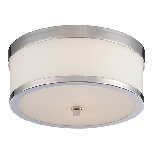 Nuvo Lighting Celine Polished Nickel Two-Light Flush Mount with Etched Opal Glass