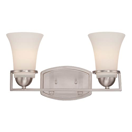 Nuvo Lighting Nevel Brushed Nickel Two-Light Bath Vanity with Satin White Glass
