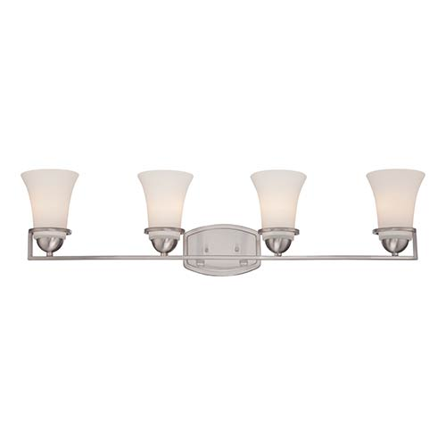 Nuvo Lighting Nevel Brushed Nickel Four-Light Bath Vanity with Satin White Glass