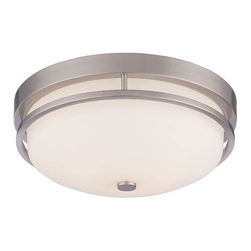 Nuvo Lighting Nevel Brushed Nickel Two-Light Flush Mount with Satin White Glass