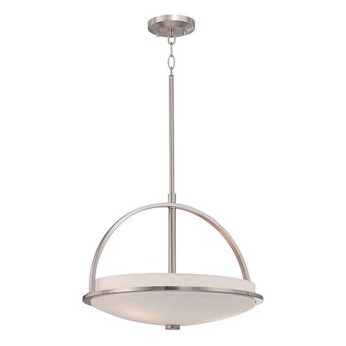 Nuvo Lighting Nevel Brushed Nickel Three-Light Bowl Pendant with Satin White Glass