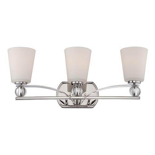 Nuvo Lighting Connie Polished Nickel Three-Light Bath Vanity with Satin White Glass