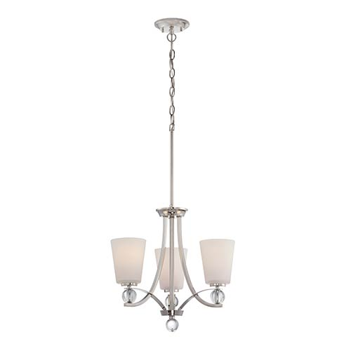 Nuvo Lighting Connie Polished Nickel Three-Light Chandelier with Satin White Glass