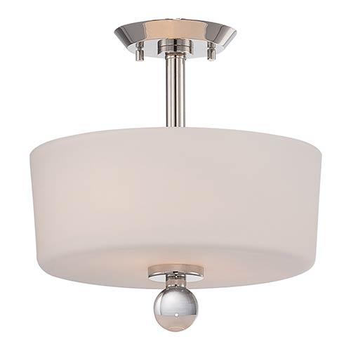 Nuvo Lighting Connie Polished Nickel Two-Light Semi-Flush with Satin White Glass