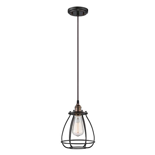Nuvo Lighting Vintage Rustic Bronze One-Light 7-Inch Wide Caged Mini Pendant