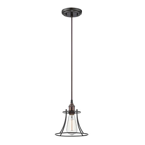 Nuvo Lighting Vintage Rustic Bronze One-Light 8-Inch Wide Caged Pendant