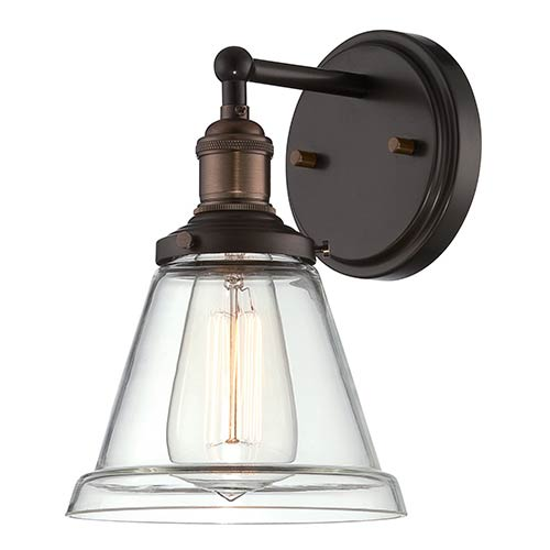Vintage Rustic Bronze One-Light 7-Inch Wide Wall Sconce with Cone Shaped Clear Glass