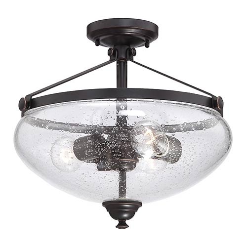 Laurel Sudbury Bronze Three-Light Semi-Flush with Clear Seeded Glass