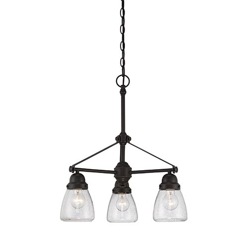 Laurel Sudbury Bronze Three-Light Chandelier with Clear Seeded Glass