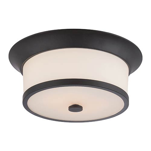 Nuvo Lighting Mobili Aged Bronze Two-Light Flush Mount with Satin White Glass