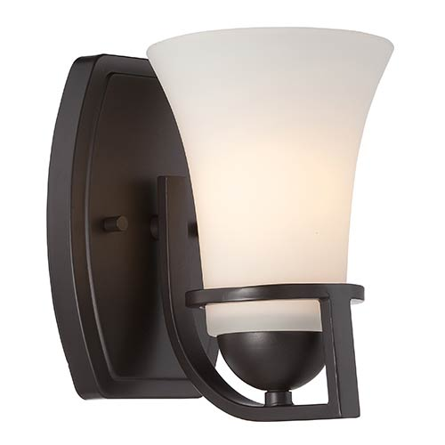 Nuvo Lighting Nevel Sudbury Bronze One-Light Bath Vanity with Satin White Glass