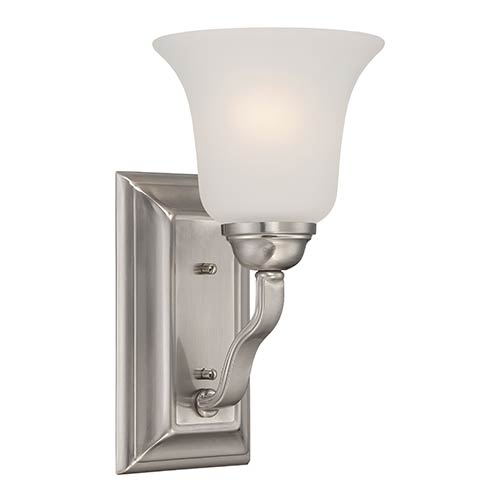 Nuvo Lighting Elizabeth Brushed Nickel One-Light Wall Sconce with Frosted Glass