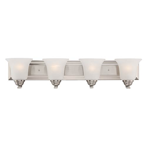 Nuvo Lighting Elizabeth Brushed Nickel Four-Light Wall Sconce with Frosted Glass
