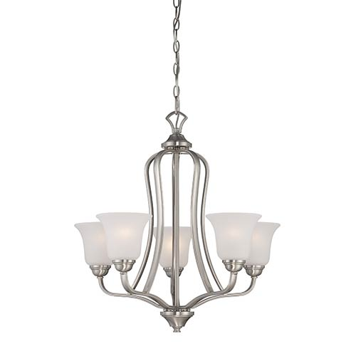 Nuvo Lighting Elizabeth Brushed Nickel Five-Light Chandelier with Frosted Glass