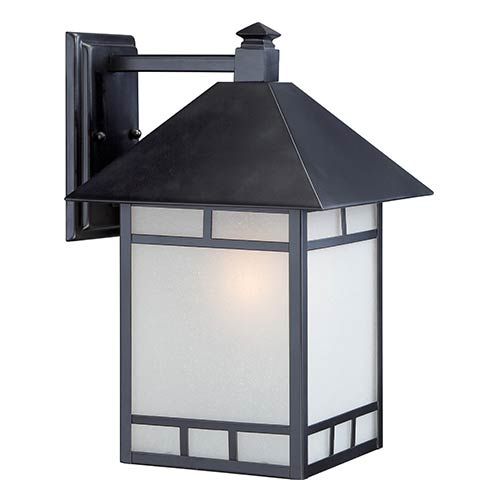 Nuvo Lighting Drexel Stone Black One-Light 10-Inch Wide Outdoor Wall Sconce with Frosted Seed Glass