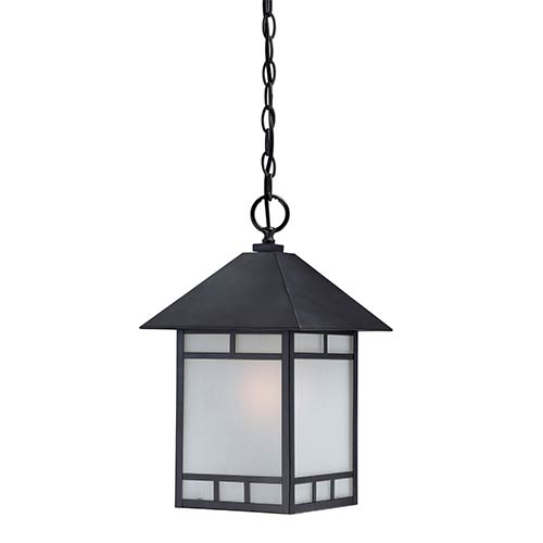 Nuvo Lighting Drexel Stone Black One-Light Outdoor Lantern Pendant with Frosted Seed Glass