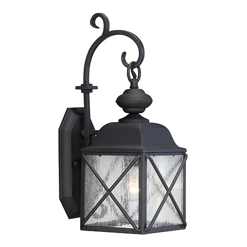 Wingate Textured Black One-Light 7-Inch Wide Outdoor Wall Sconce with Clear Seeded Glass