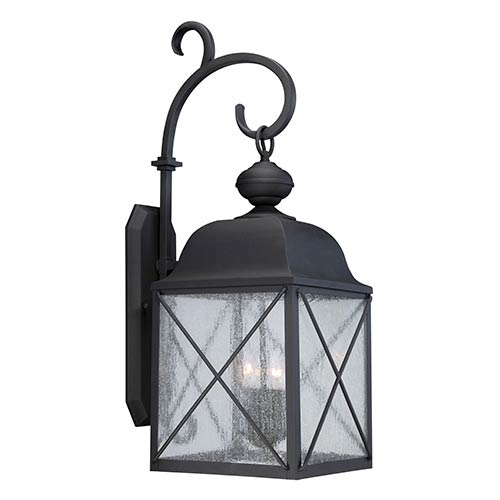 Wingate Textured Black One-Light 12-Inch Wide Outdoor Wall Sconce with Clear Seeded Glass