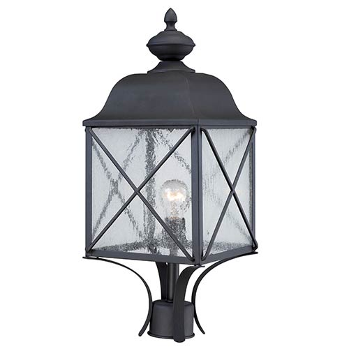 Nuvo Lighting Wingate Textured Black One-Light Outdoor Post Lantern with Clear Seeded Glass