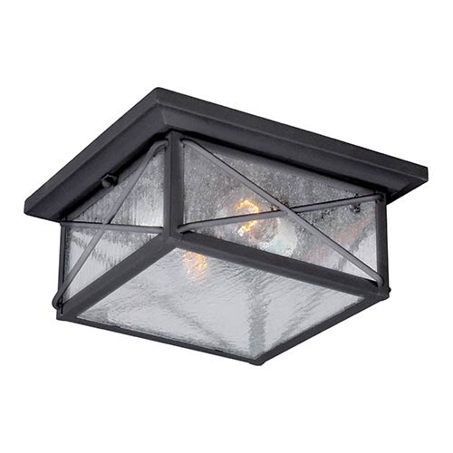 Wingate Textured Black Two Light Outdoor Flush Mount With Clear Seeded Gl