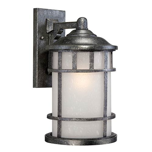 Manor Aged Silver One-Light 10-Inch Wide Outdoor Wall Sconce with Frosted Seed Glass