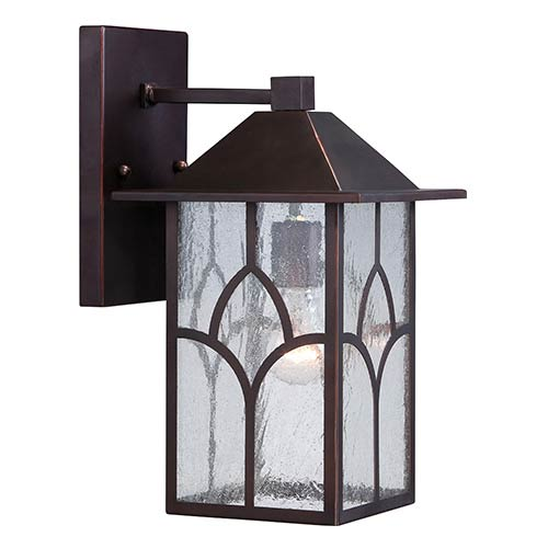Stanton Claret Bronze One-Light 8-Inch Wide Outdoor Wall Sconce with Clear Seeded Glass
