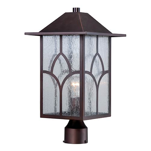 Nuvo Lighting Stanton Claret Bronze One-Light Outdoor Post Lantern with Clear Seeded Glass