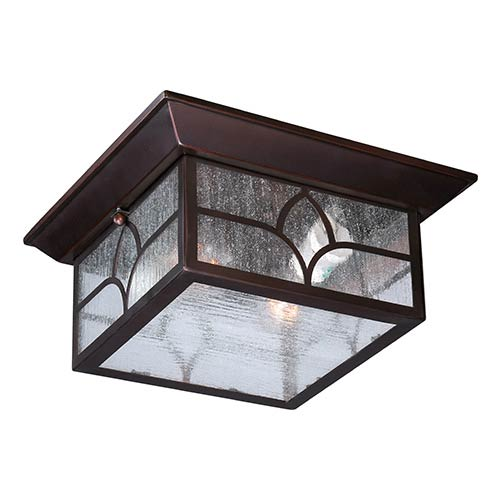 Nuvo Lighting Stanton Claret Bronze Two-Light Outdoor Flush Mount with Clear Seeded Glass