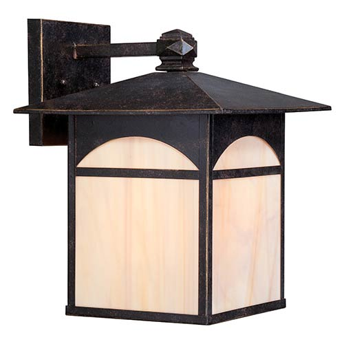 Nuvo Lighting Canyon Umber Bronze One-Light 11-Inch Wide Outdoor Wall Sconce with Honey Stained Glass