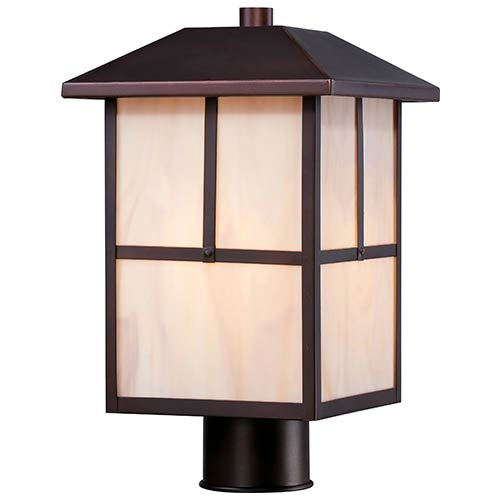 Nuvo Lighting Tanner Claret Bronze One-Light Outdoor Post Lantern with Honey Stained Glass