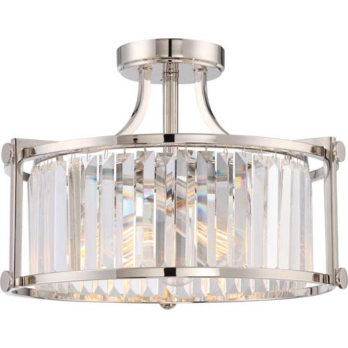 Krys Polished Nickel Three-Light Semi-Flush