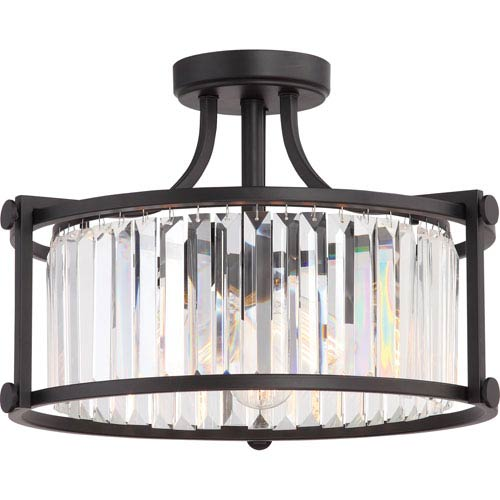 Krys Aged Bronze Three-Light Semi-Flush